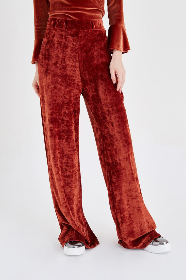 Bayan Turuncu Kadife Pantolon