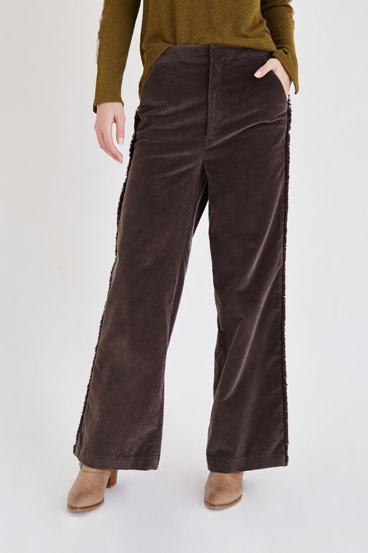 Bayan Kahverengi Kadife Püskül Detaylı Pantolon