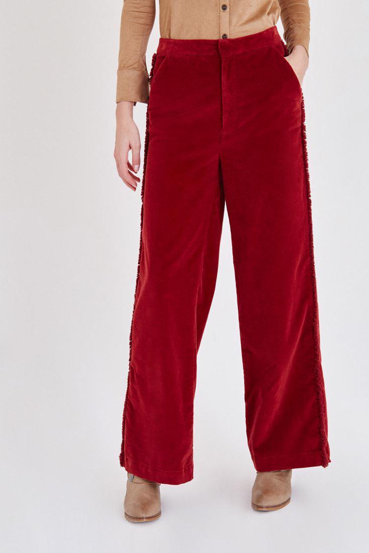 Bayan Bordo Kadife Püskül Detaylı Pantolon