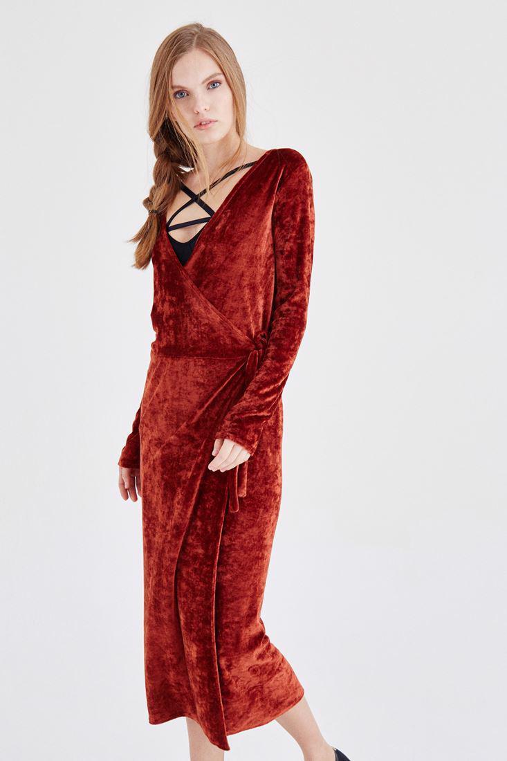 Bayan Turuncu Kadife Elbise