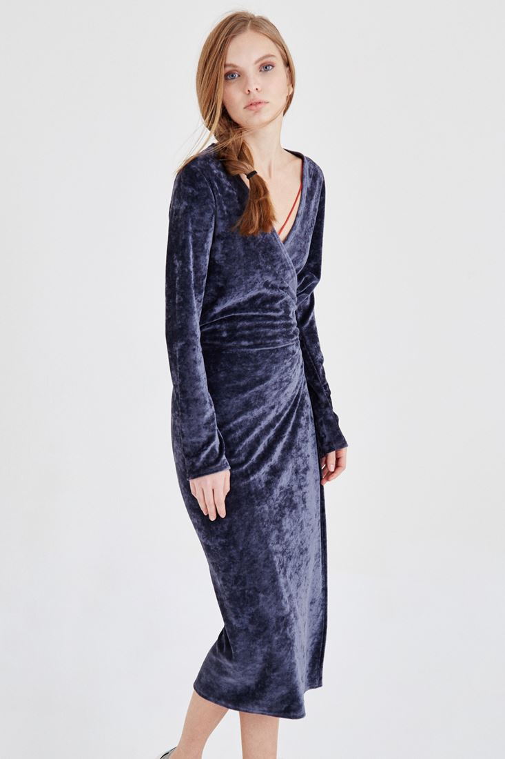 Bayan Gri Kadife Elbise
