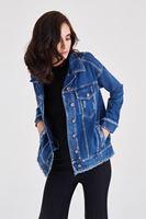 Bayan Mavi Yıpratılmış Kot Ceket