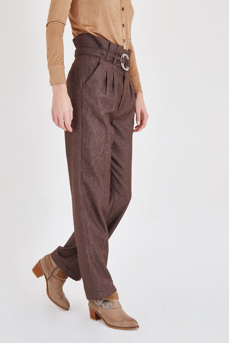 Bayan Kahverengi Kemerli Pantolon
