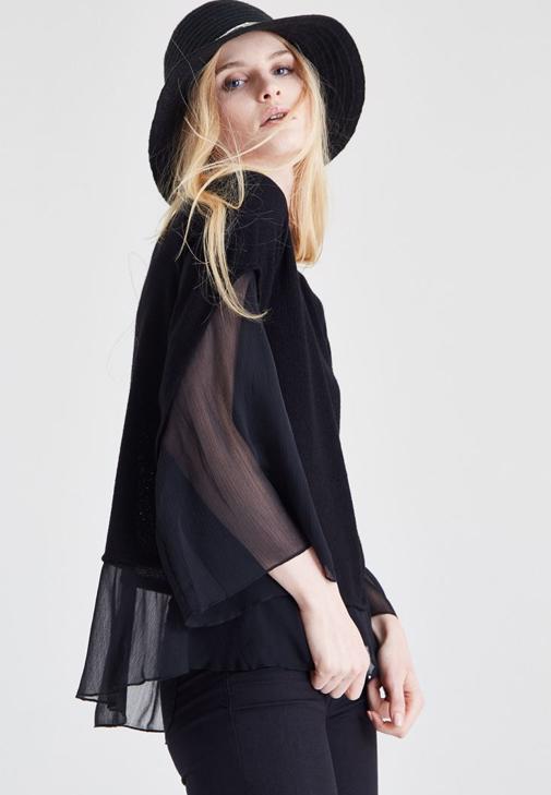 Siyah Şifon Kol Detaylı Bluz