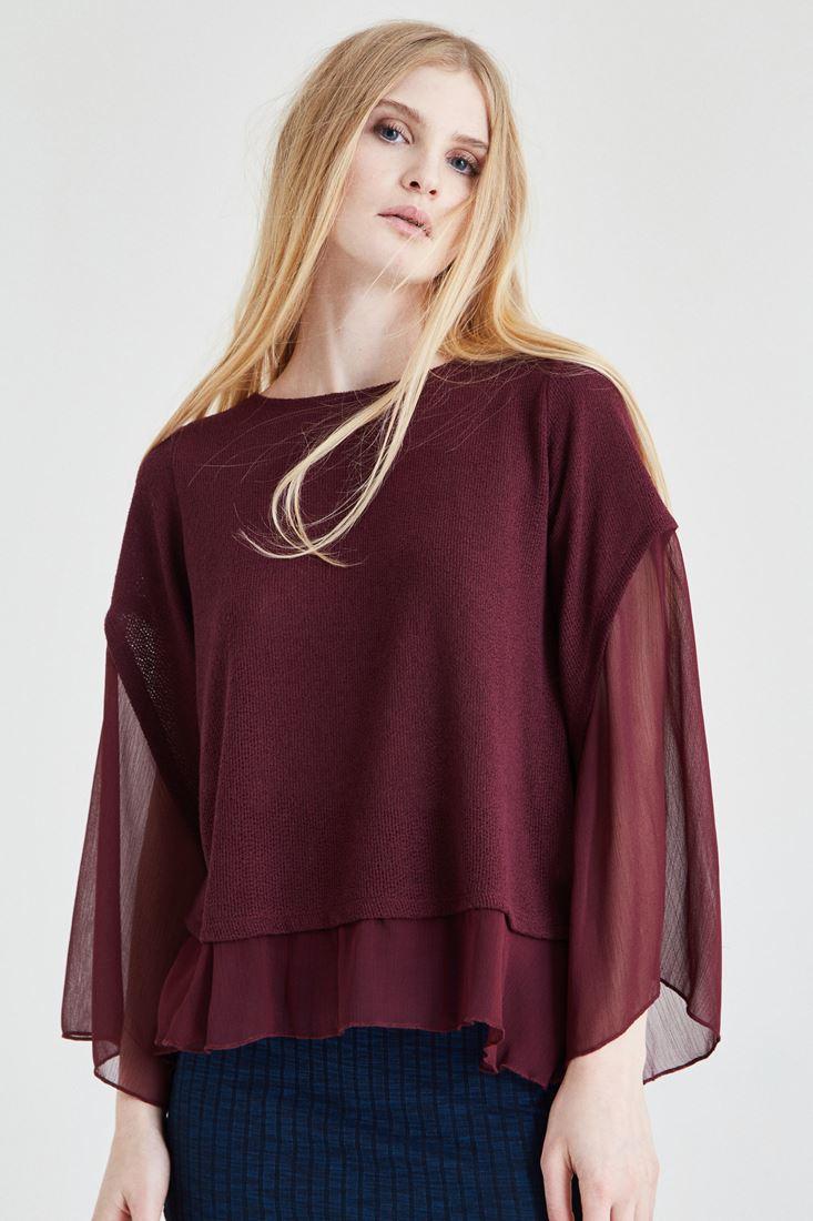 Bordo Şifon Kol Detaylı Bluz