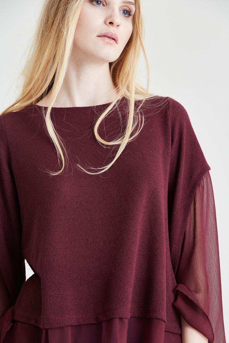 Bayan Bordo Şifon Kol Detaylı Bluz