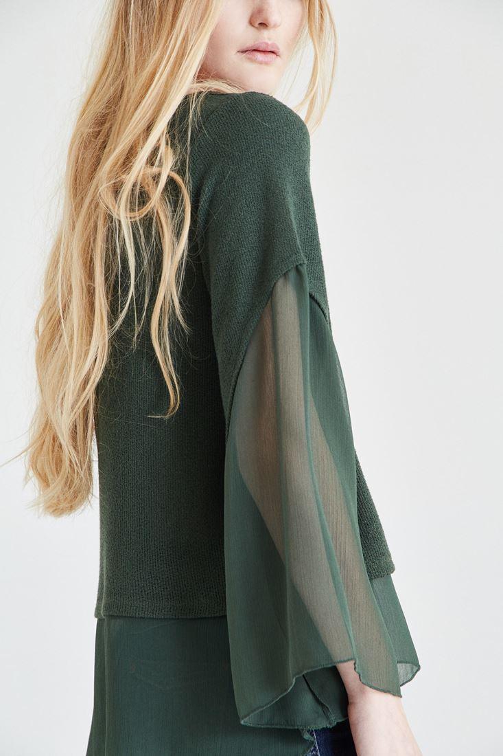 Bayan Yeşil Şifon Kol Detaylı Bluz