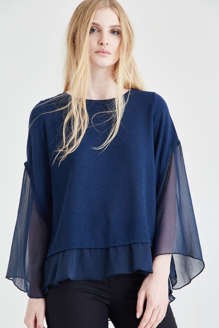 Bayan Lacivert Şifon Kol Detaylı Bluz