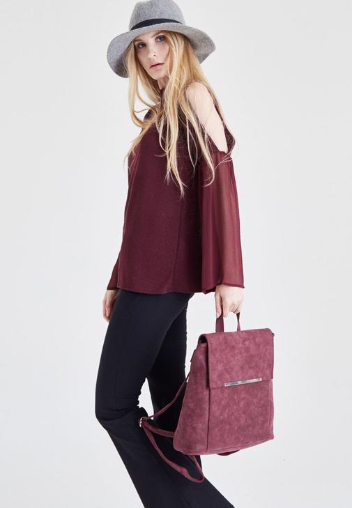 Bordo Omuz Detaylı Bluz