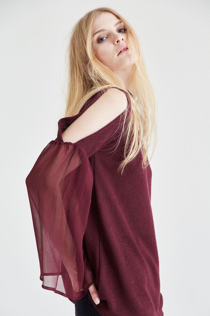 Bayan Bordo Omuz Detaylı Bluz