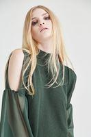 Bayan Yeşil Omuz Detaylı Bluz