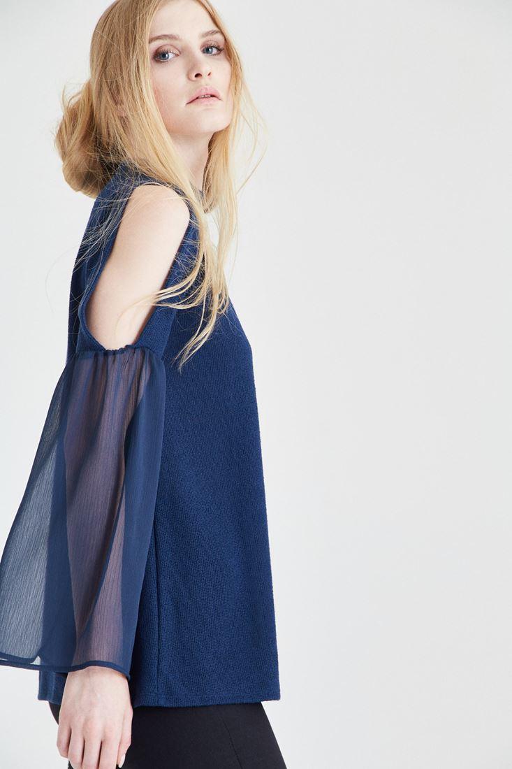 Bayan Lacivert Omuz Detaylı Bluz