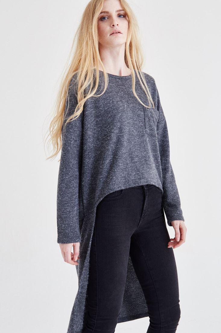 Bayan Gri Arkası Uzun Bluz