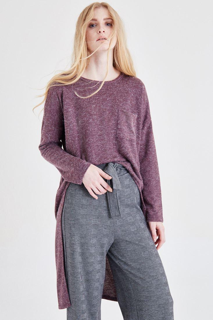 Bayan Bordo Arkası Uzun Bluz