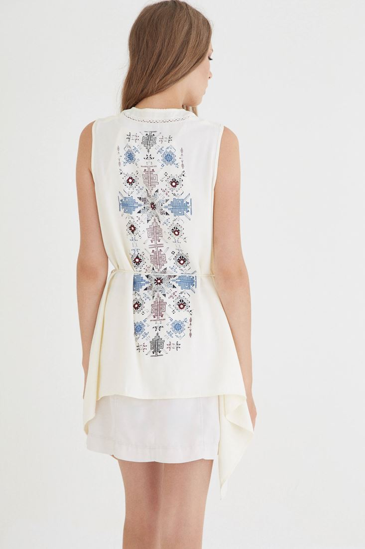 Cream Vest With Printed Detail