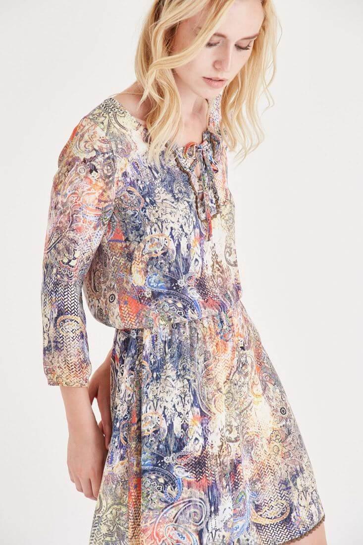 Çok Renkli Desenli Kısa Elbise
