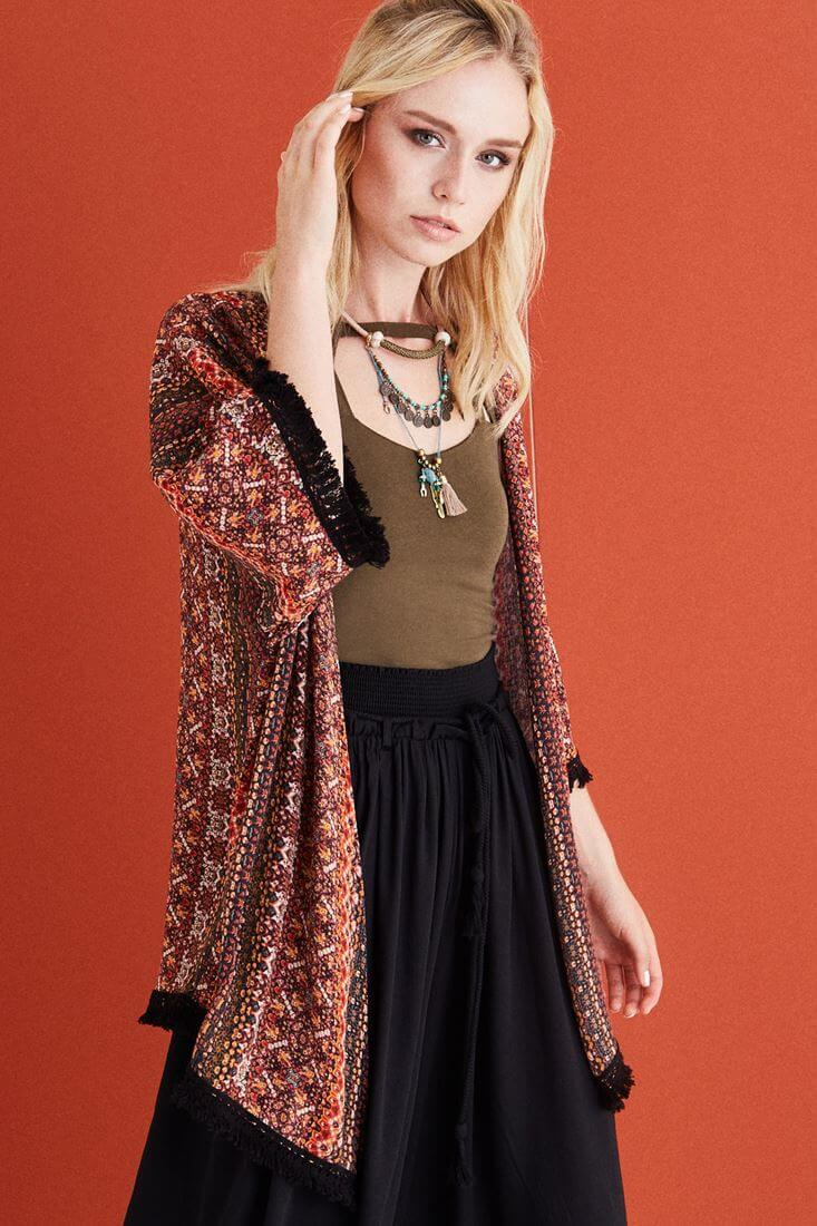 Mixed Patterned Kimono