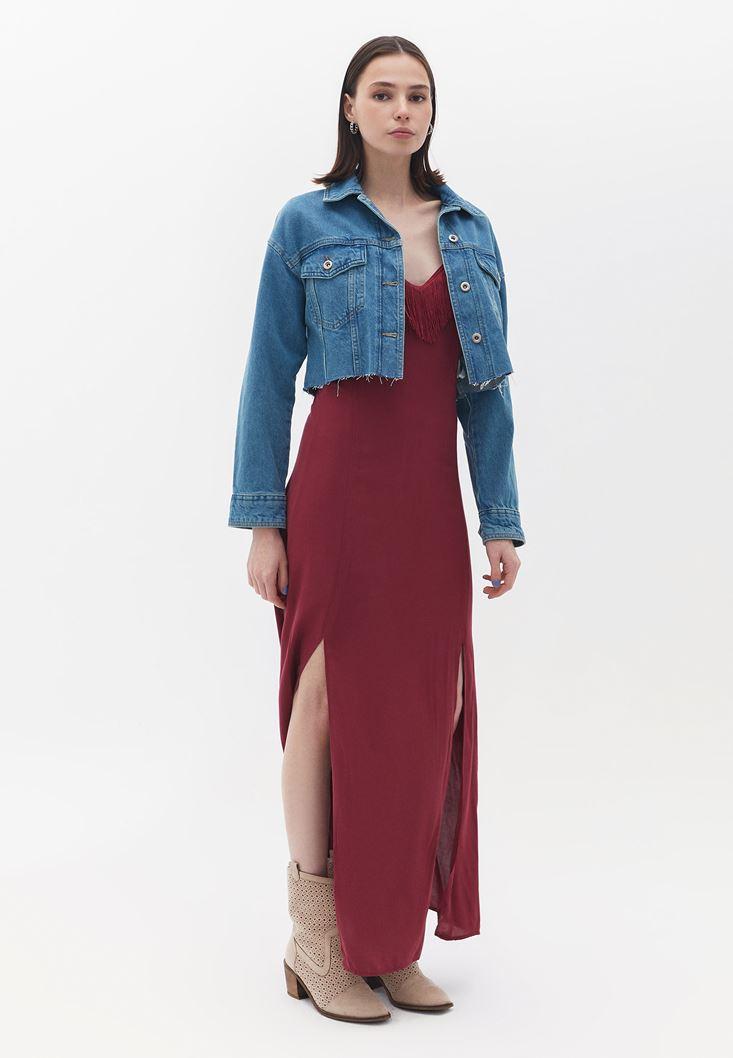 Bayan Bordo Püskül Detaylı Elbise
