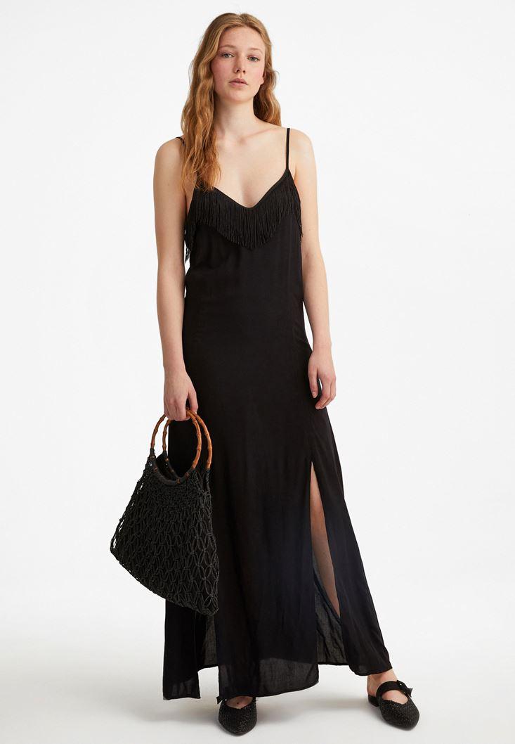 Black Dress With Fringe Detail