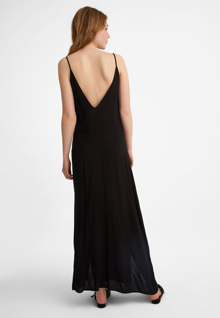 Bayan Siyah Püskül Detaylı Elbise