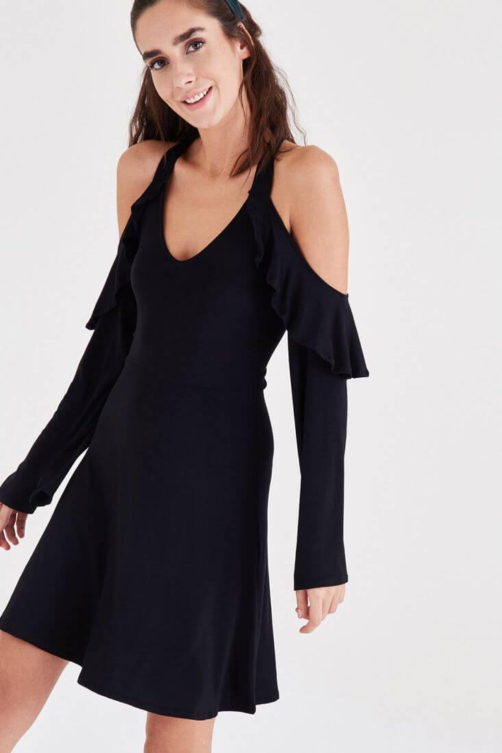 Bayan Siyah Fırfır Detaylı Elbise