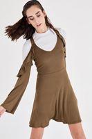 Bayan Yeşil Fırfır Detaylı Elbise