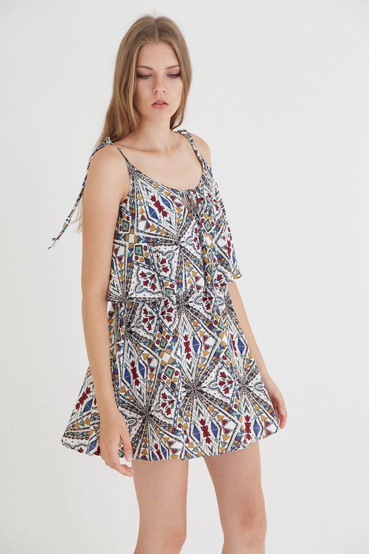 Bayan Çok Renkli İki Katlı Elbise