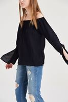 Bayan Siyah Bardot Yaka Dökümlü Bluz