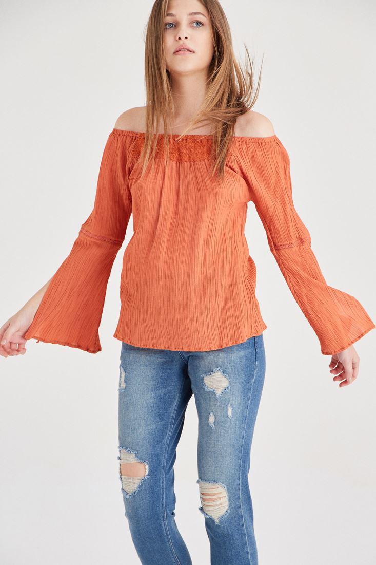 Krem Bardot Yaka Dökümlü Bluz