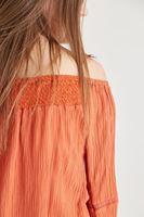 Bayan Turuncu Kol Detaylı Bluz