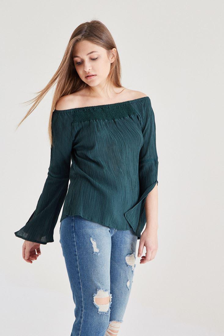 Yeşil Bardot Yaka Dökümlü Bluz