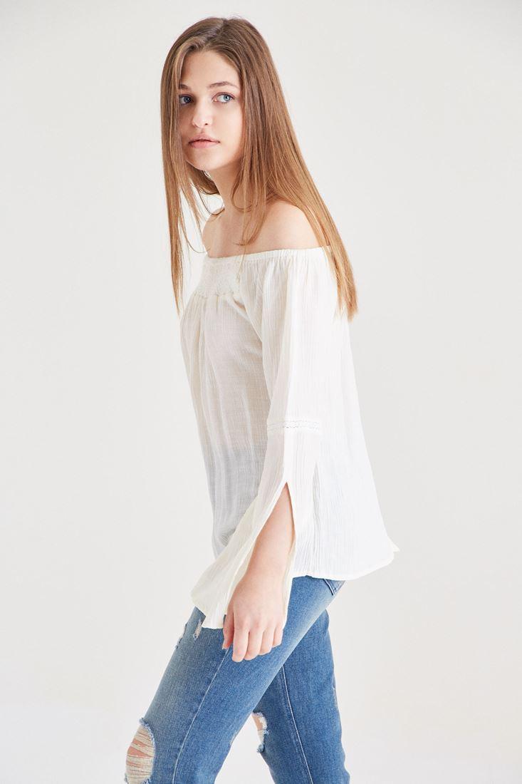 Bayan Krem Kol Detaylı Bluz