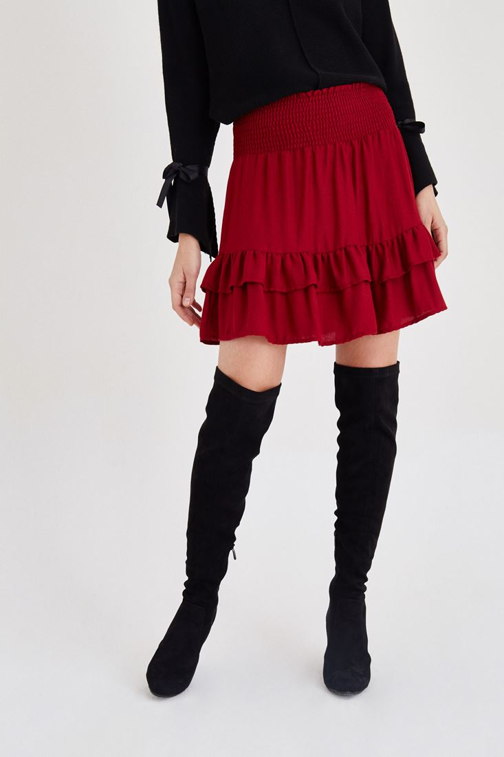 Bordeaux Frilled Skirt