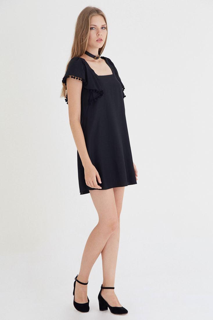 Siyah Kare Yakalı Elbise
