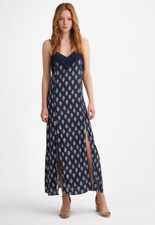 Çok Renkli Desenli uzun elbise