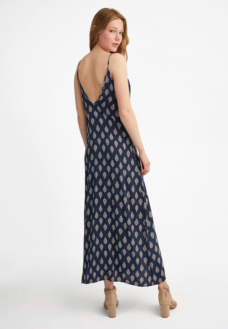 Bayan Çok Renkli Desenli uzun elbise