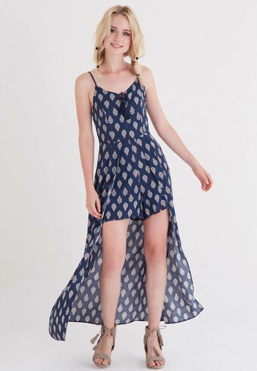 Çok Renkli Desenli Şort Elbise