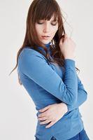 Bayan Mavi Balıkçı Yaka Kazak