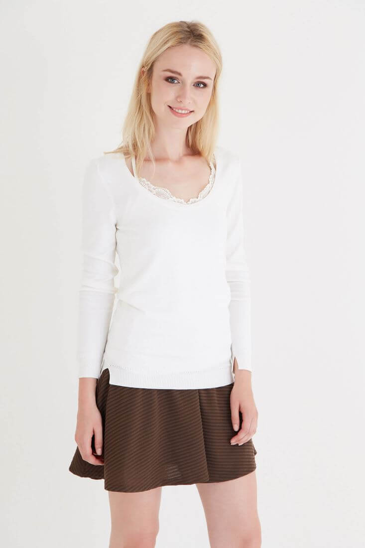 Cream U Neck Knitwear