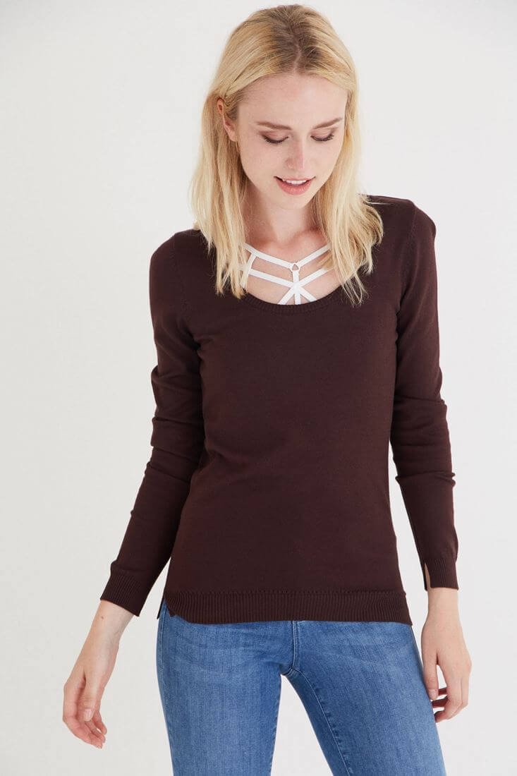 Brown U Neck Knitwear