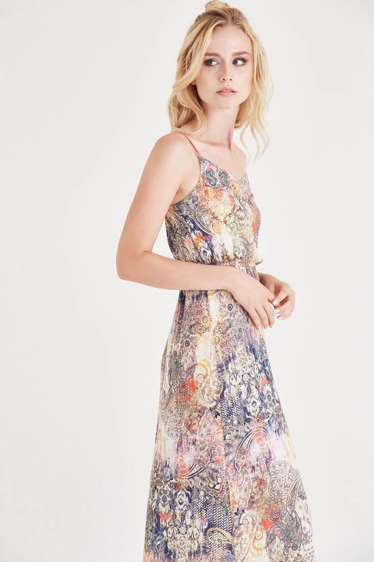 Çok Renkli Küçük Desenli Uzun Elbise
