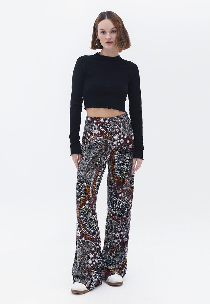 Bayan Çok Renkli Desenli Bol Pantolon