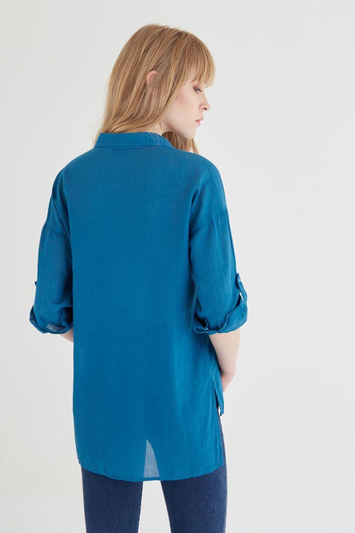 Bayan Mavi Pamuklu Bol Kesim Gömlek