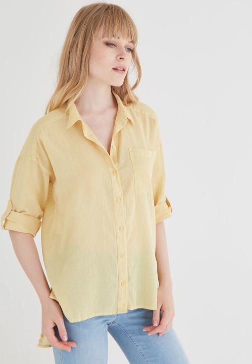 Sarı Pamuklu Bol Kesim Gömlek