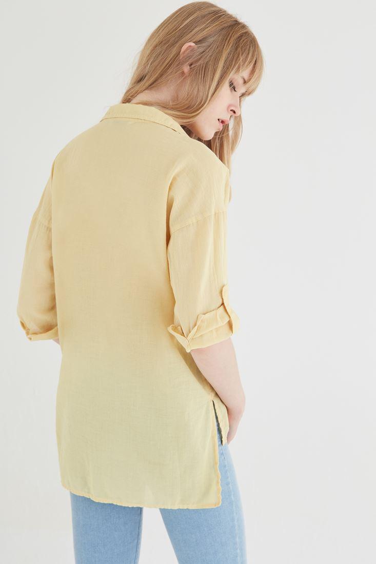 Bayan Sarı Pamuklu Bol Kesim Gömlek