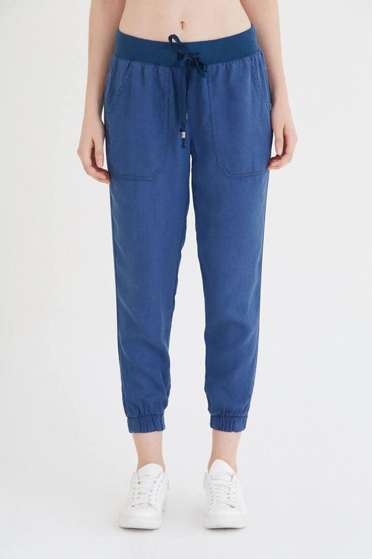Mavi Bol Kesim Bilekli Pantolon