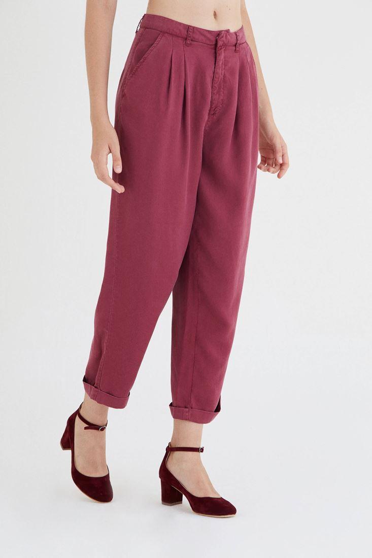 Bayan Bordo Dökümlü Pantolon