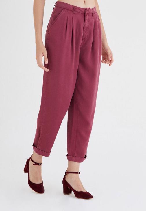 Bordo Dökümlü Pantolon