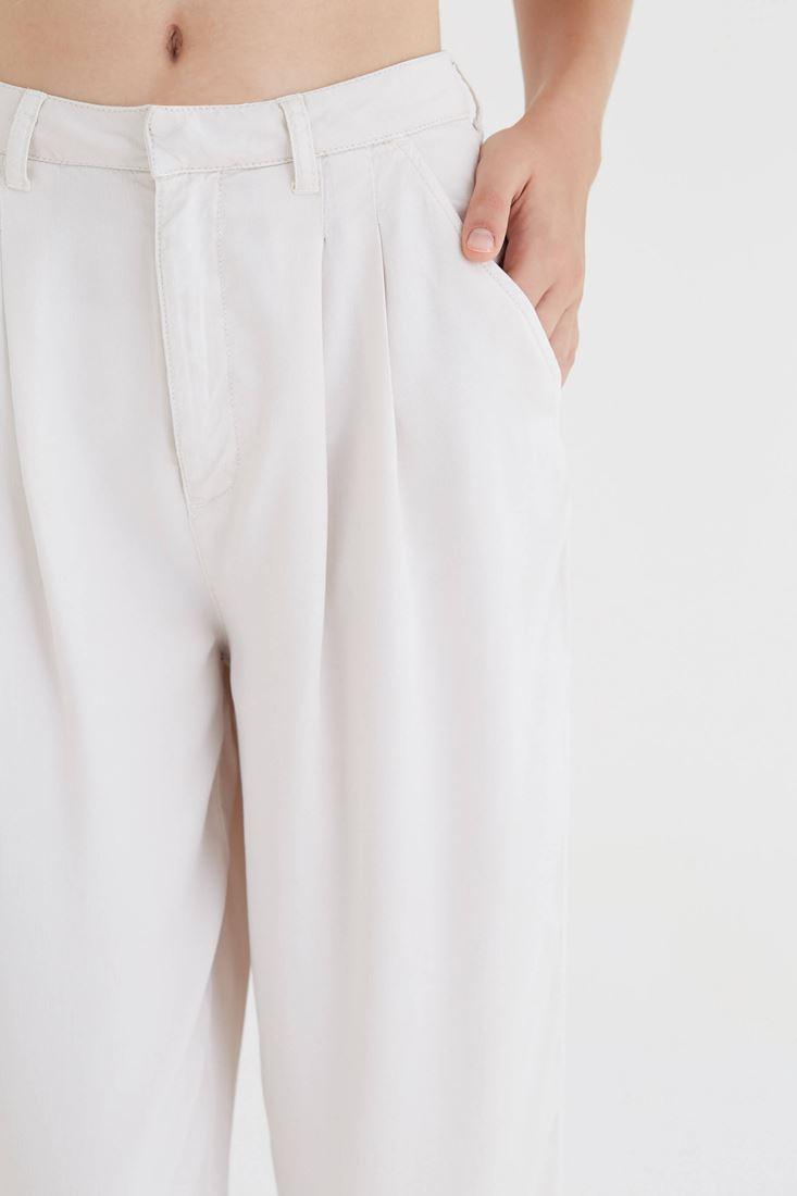 Bayan Krem Dökümlü Pantolon