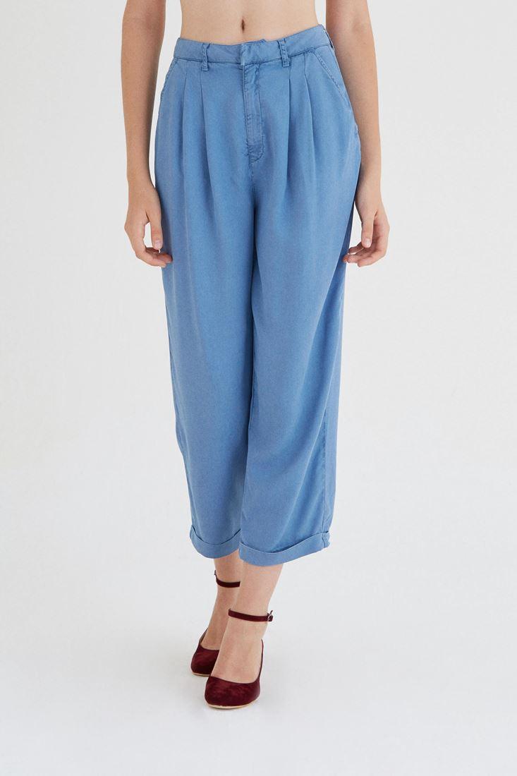 Bayan Mavi Dökümlü Pantolon